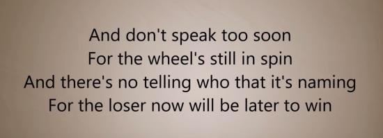 speak to soon